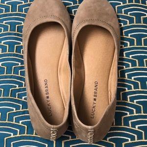 Lucky Brand 🍀 Cute Tan Ballet Flats 8.5 worn 1X